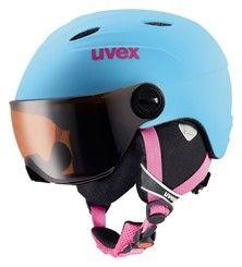 UVEX JUNIOR VISOR PRO dětská lyžařská přilba se štítem, liteblue mat | 54-56